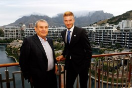 Wednesday 2nd December 2009. Table Mountain Suite, One&Only Resort Cape Town, Victoria & Alfred Waterfront (V & A), Cape Town, Western Cape, South Africa.  DAVID BECKHAM MEETS SOL KERZNER!  DAVID BECKHAM MEETS SOL KERZNER AT ONE&ONLY CAPE TOWN!  English celebrity soccer star, David Beckham, meets with Chairman and CEO of Kerzner International, Sol Kerzner, in the Table Mountain Suite at One&Only Cape Town situated at the Victoria