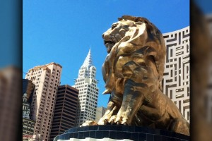 Famous MGM Grand Exterior Lion statue overlooking the Las Vegas Strip